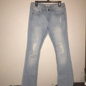 Distressed Mudd Bootcut Jeans